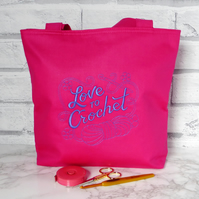 Embroidered craft bag for crochet, small tote bag