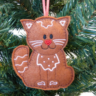 SALE: 'Gingerbread' Cat Christmas decoration, felt.