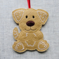 'Gingerbread' dog Christmas decoration, felt, light colour, brown nose