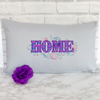 Embroidered cushion cover, 'Home'