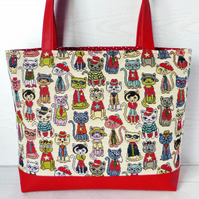 Tote bag, Craft bag, Dressed up cats
