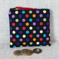 Zipped coin purse, spots, polka dots