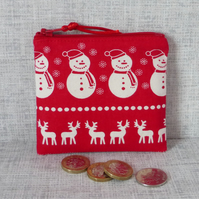 Zipped coin purse, snowmen, reindeer, Christmas