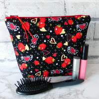 Large zipped pouch, toiletry bag, strawberries & hearts