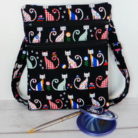 Cross body bag, shoulder bag, cats, double zipped