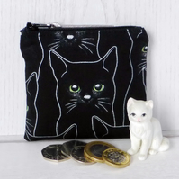 Zipped coin purse, Black cats.