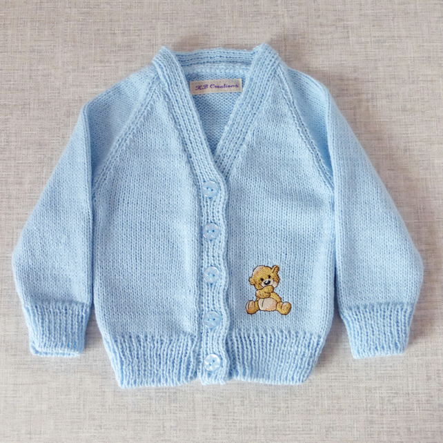 Embroidered baby cardigan with teddy motif