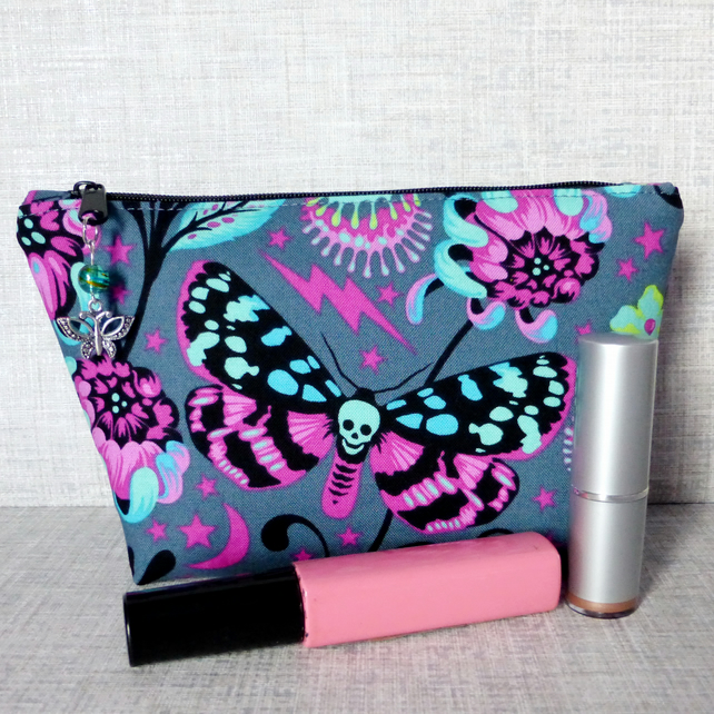 Make up bag, zipped pouch, cosmetic bag, butterflies, skulls