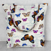 Butterfly tote bag, shopping bag.