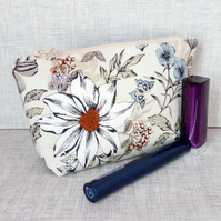 Floral make up bag, zipped pouch, cosmetic bag