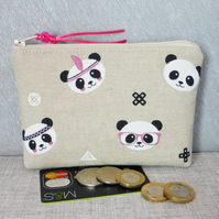 Zipped coin purse, large, panda faces