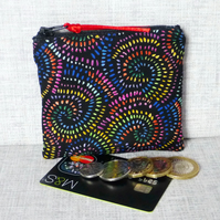 Zipped coin purse, multi-coloured