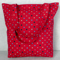 SALE: Spotty Tote Bag, shopping bag,red.