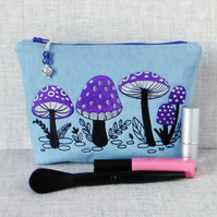 Embroidered zipped pouch, make up bag, toadstools, mushrooms.