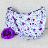 Purple pansies shoulder bag, handbag