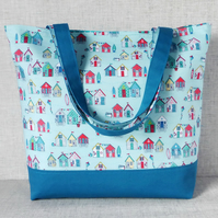 Beach Huts Tote Bag, Beach bag, Shopping bag, Craft bag