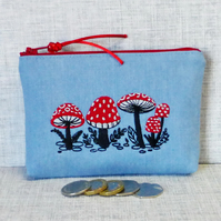 Coin purse, Denim, mushrooms