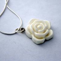 *RESERVED for JoanneHX* White Rose Pendant
