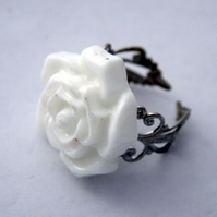 *RESERVED for JoanneHX* White Rose Ring