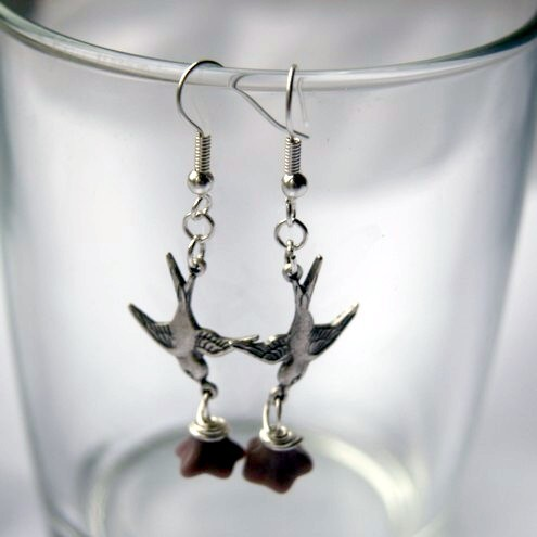 Swooping Swallow Purple Flower Earrings