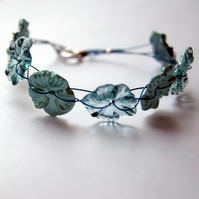 Teal Button Flower Bracelet