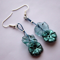 Teal Button Earrings