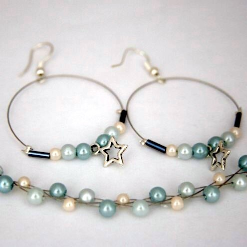 Pearly Blue Earrings and Bracelet