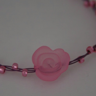 Pink Flower and Bead Bracelet