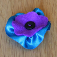 Blue Ribbon Purple Felt Organza Brooch