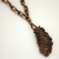 Peacock Feather Chunky Chain Necklace