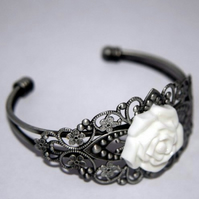 *RESERVED for Squintessential* White Rose Bangle