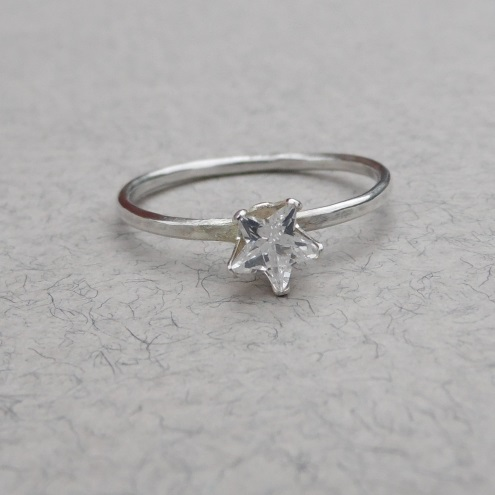 Cubic zirconia star and sterling silver stacker ring