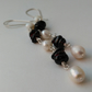Garnet and freshwater pearl dangle earrings