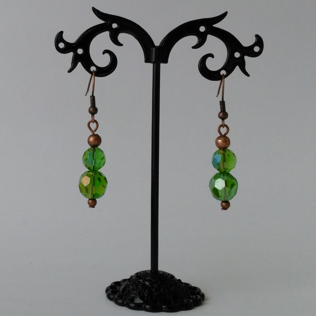 Antique copper and mystic green quartz dangle earrings