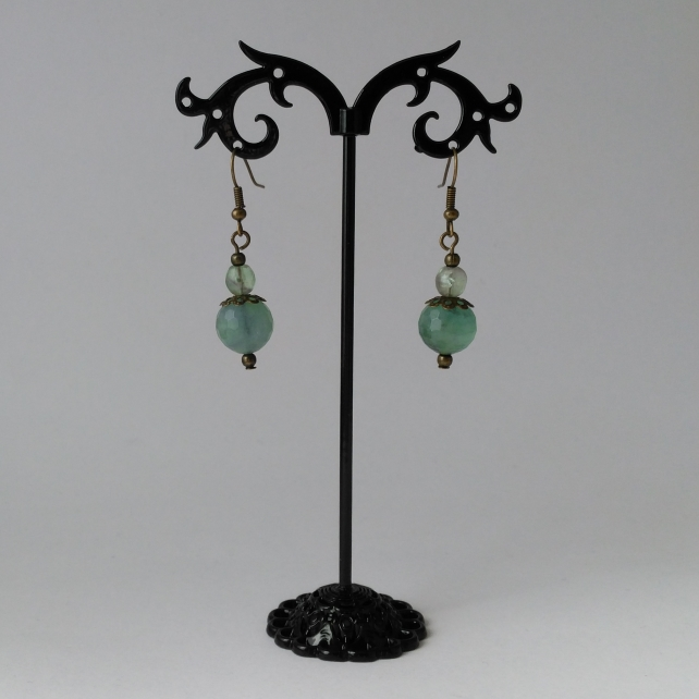 Fluorite and antique brass earrings
