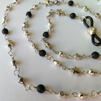 Lava stone and silver plate rosary style glasses chain