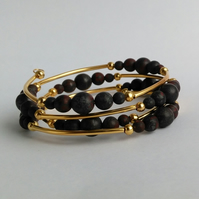 Poppy jasper and gold plate memory wire bracelet