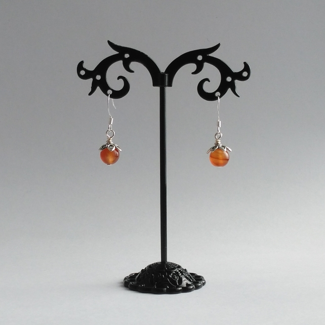 Autumn berries carnelian and silver earrings