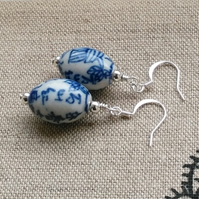 Blue willow inspired ceramic and silver earrings