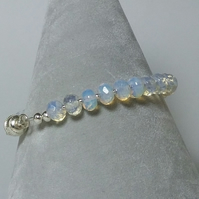 Opalite and silver bracelet with magnetic clasp