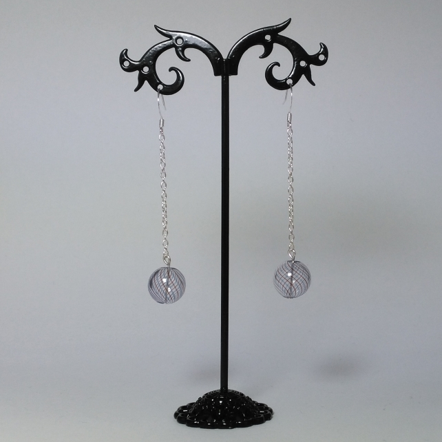 Glass witch ball and silver chain earrings