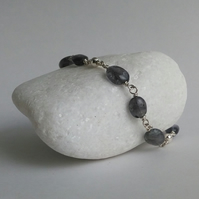 Iolite and sterling silver bracelet
