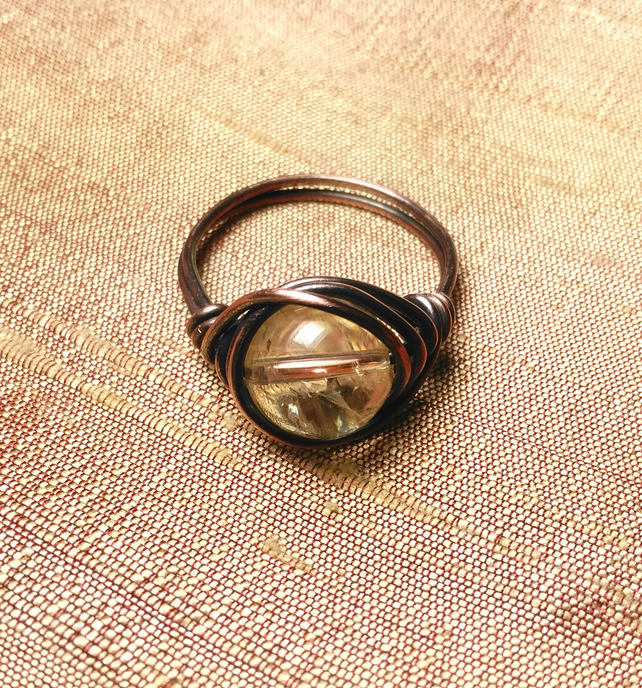 Citrine and copper wire wrapped ring