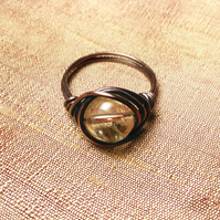 Citrine and aged copper wire wrapped ring