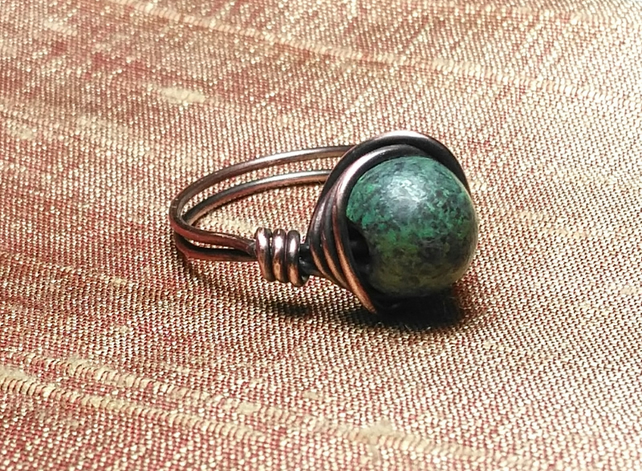Verdigris ceramic and copper wire wrapped ring - made to order