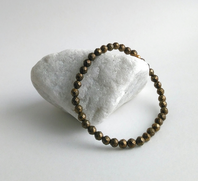 Men's bronze pyrite elasticated bracelet