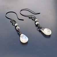 Rainbow moonstone, black spinel and blackened sterling silver earrings