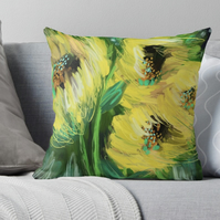 Sunflower Throw Pillow Cushion (Cover Only)