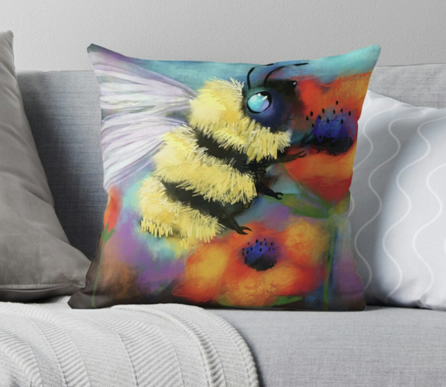 Bumble Bee Throw Pillow (COVER ONLY)
