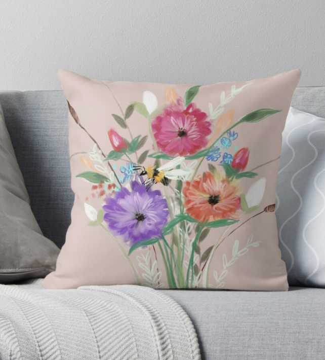 Rose Gold Floral Throw Pillow